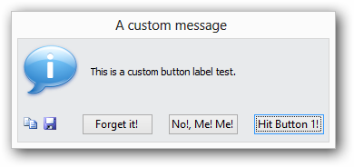 Screenshot of dialog box with custom button labels