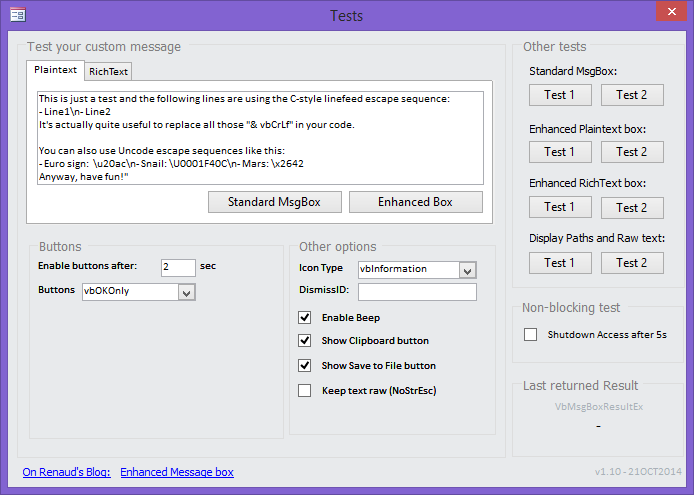 Cypris' lookout » MS Access: Enhanced Message Box Replacement